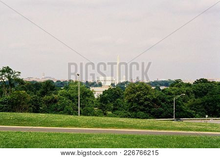 View Of Washington D.c. And National Mall And Monuments As Seen From Arlington, Virginia In Color In