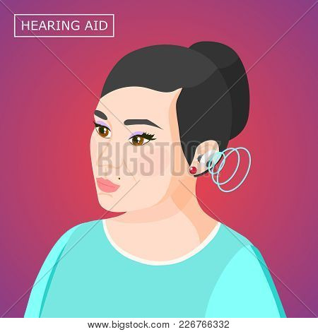 Concentrated Woman With Hearing Aid Inside Ear With Sound Waves Isometric Composition On Purple Back