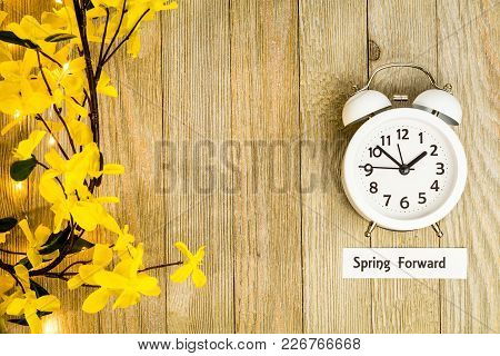Daylight Savings Time Spring Concept Top Down View With White Clock And Yellow Forsythia Flowers On