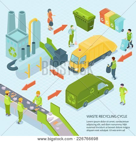 Garbage Recycling Cycle On Blue Background From Trash Bins Till Waste Processing Plant Isometric Vec