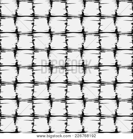 Abstract Seamless Vector Background. White Paint Strokes On A Black Background