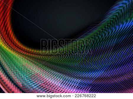 Abstract Dark Background Covered Of Concave Fluted Waves With With Iridescent Different Hues