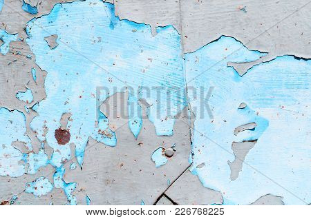 Textured Industrial Grunge Background - Grey And Blue Peeling Paint On The Old Rough Metallic Surfac