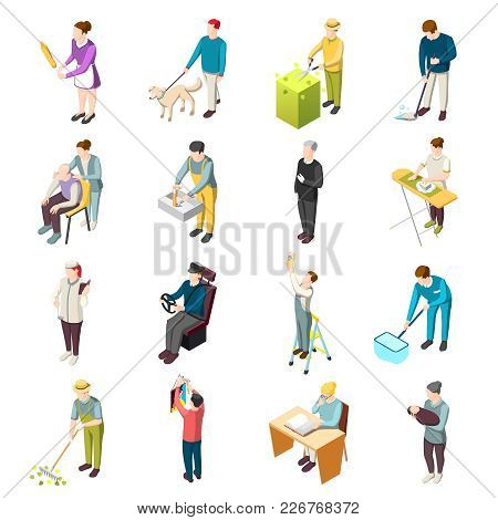 Domestic Servant Set Of Isometric Icons With Housemaid, Gardener, Nanny, Personal Chef, Driver, Nurs