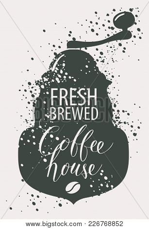 Vector Banner On Coffee Theme In Retro Style With Image Of Pointer, Coffee Grinder And Handwritten I