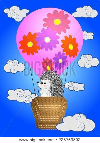 A Cute Little Hedgehog Flies Into Cartoons, A Large Bulky Balloon With A Basket In The Sky Amidst Wh