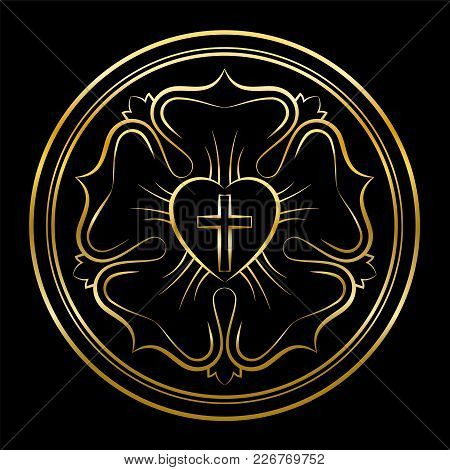 Martin Luther Rose Golden Illustration On Black Background. Luther Seal, Symbol Of Lutheranism, Cons