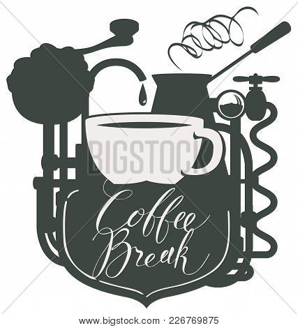 Vector Banner For Coffee House In Retro Style With Cup Of Coffee, A Vintage Coffee Machine And A Han