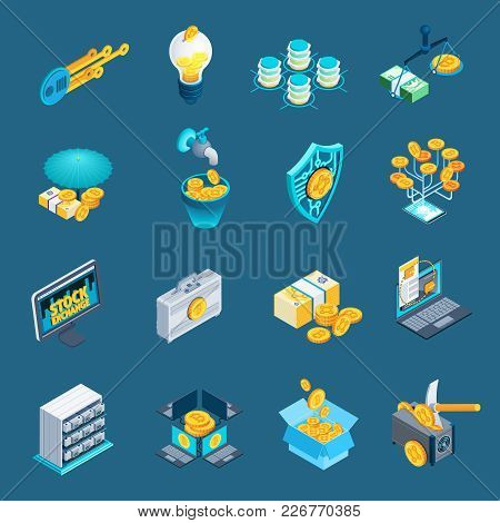 Set Of Isometric Icons With Mining Cryptocurrency, Blockchain, Ico, Stock Exchange Isolated On Blue