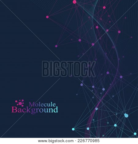Structure Molecule And Communication. Dna, Atom, Neurons. Scientific Molecule Background For Medicin