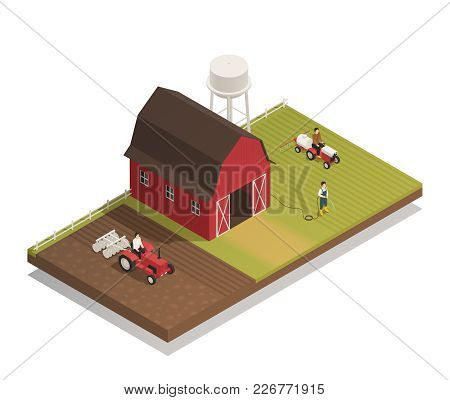 Gardening Agricultural Machinery Isometric Composition  With Fertilizer And Disc Harrow Tractor Cult