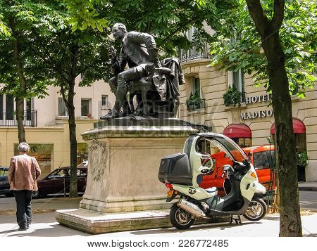 Paris, France - May 29, 2006: Statue Of Denis Diderot By Artist Jean Gautherin Installed On 1886 At