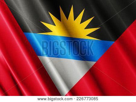 Antigua Barbuda Textured Proud Country Waving Flag Close