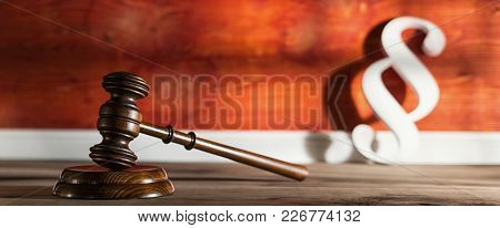 Gavel With Paragraph Icon In A Lawyer Office At A Summer Day . Ideal For Websites And Magazines Layo