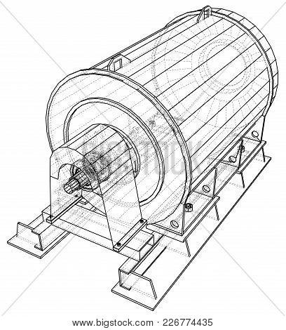 Industrial Equipment. Wire-frame. Vector Eps10 Format. Vector Rendering Of 3d.