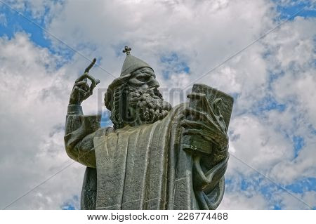 Split, Croatia - April 15 2016: Monumental Bronze Statue Of Bishop Gregory Of Nin Created In 1929 By