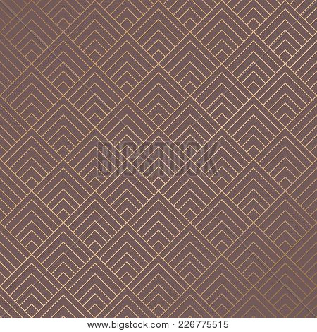 Art Deco Pattern. Golden Background. Minimalistic Geometric Design. Vector Line Design. 192