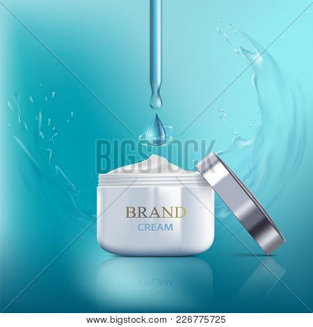 Cosmetic Cream With Vitamins, Aqua And Coenzyme. Splashes Of Water With Drops. Packing Brand Design.