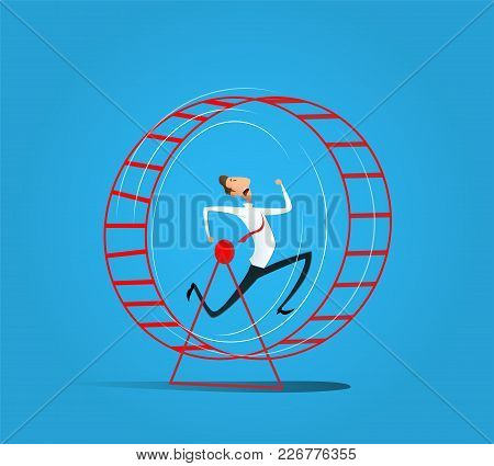 Cartoon Businessman Running In Hamster Wheel. Rat Race And Worcaholic Concept. Vector Illustration.