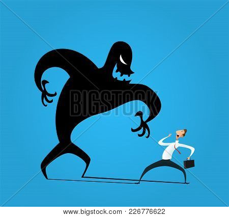 Businessman Frightened With His Own Shadow. The Concept Of Uncertainty In Doing Business. A Novice I