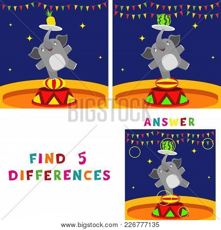Find Five Differences Children Educational Game. Vector Illustration Of Elephant In Circus.