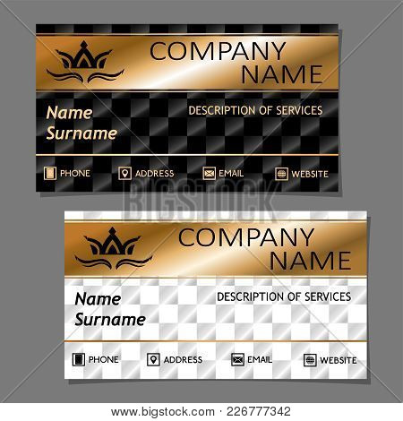 Royal Style Business Card In Royal Style With The Crown On The Chess Background In Light And Dark Ve
