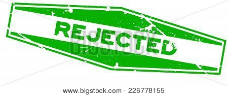 Grunge Green Rejected Hexagon Rubber Seal Stamp On White Background
