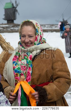 Woman Dressed In Holiday Traditional Ukrainian Winter Clothes