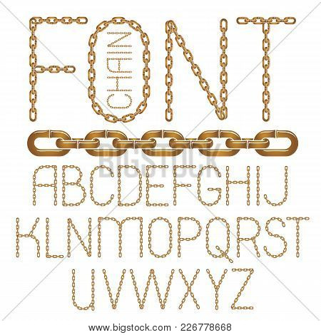 Set Of Vector English Alphabet Letters Isolated. Capital Decorative Font Created Using Connected Cha