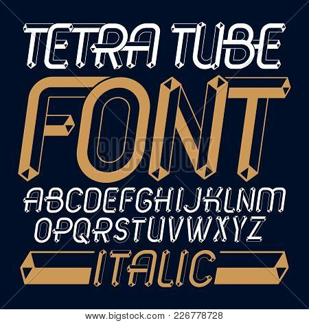 Set Of Trendy Fun  Vector Capital English Alphabet Letters Isolated. Special Italic Type Font, Scrip