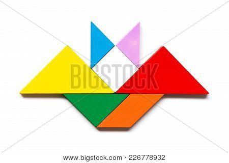 Color Wood Tangram Puzzle In Flying Bat Shape On White Background