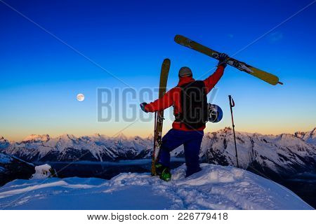Skiing with amazing dusk view of swiss famous mountains in beautiful winter snow  Mt Fort. The matterhorn and the Dent d'Herens. In the foreground the Grand Desert glacier.