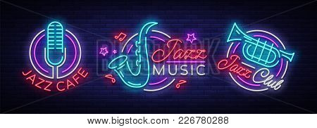 Jazz Music Collection Neon Signs. Symbols, Collection Of Logos In Neon Style, Bright Night Banner, L
