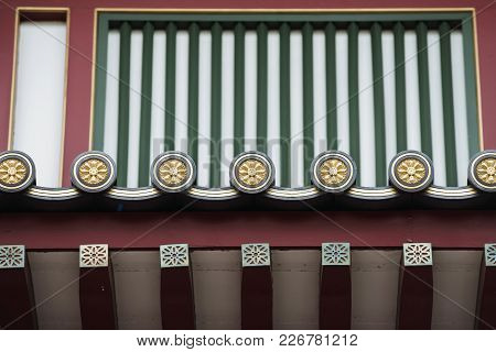 Focus On Details Of Decorated Wooden Roof Of Famous Buddha Tooth Relic Temple In Singapore