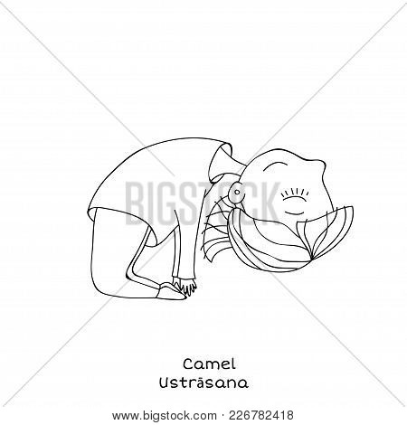 Cute Little Girl Is Practicing Yoga. Kid In Camel Pose. Cartoon Vector Illustration