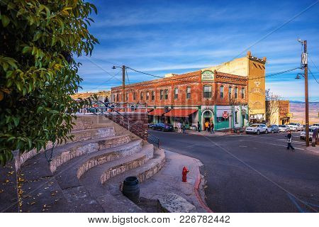 Jerome, Arizona, Usa - January 1, 2018 : Historic Connor Hotel On The Main Street Of Jerome Located