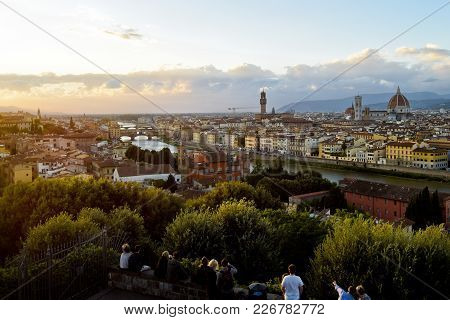 017: View From Piazzale Michelangelo; Piazzale Michelangelo Is A Popular Square On The Top Of A Hill