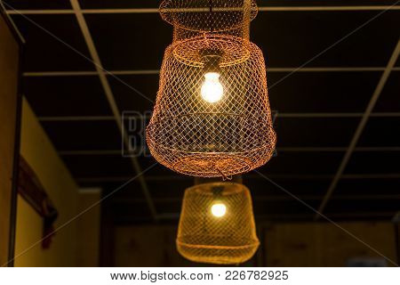 Braided Shades. Ceiling Lamp. Close-up. Lampshade Decorative