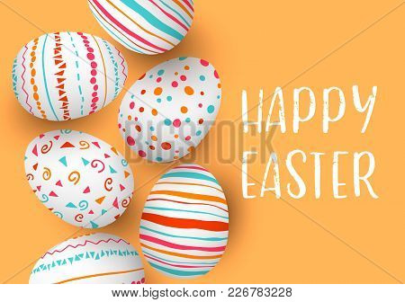 Happy Easter Eggs In A Row With Text. Colorful Easter Eggs On Golden Background. Hand Font. Scandina