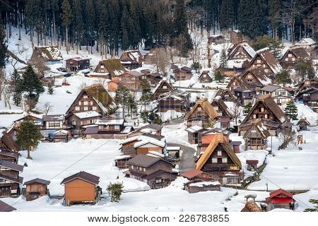 Historic Villages Of Shirakawa-go And Gokayama, Japan. Winter In Shirakawa-go, Japan. Traditional St