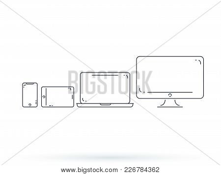 Device And Gadget Line Art Set. Laptop, Smartphone, Modern Portable And Compact Personal Computer Ma