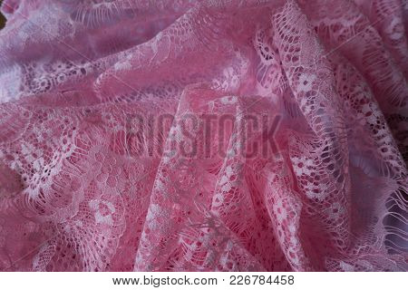 Gauzy Tender Pink Lacy Fabric In Folds