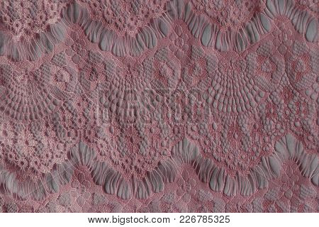 Top View Of Warm Pink Lacy Fabric