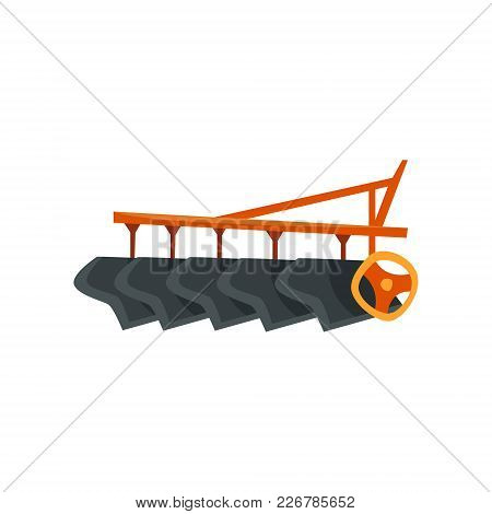 Ripper Machinery, Agriculture Industrial Farm Equipment Vector Illustration On A White Background, F