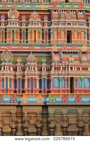 Background - Painting Of The Walls Of Gopuram Of The South Indian Temple In Dravidian Style.