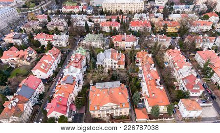 Aerial Drone View From Above Of Warsaw City District With Old Residential Houses