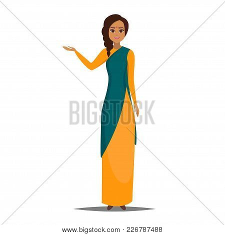 Cartoon Business Indian Woman Character With Present Pose. Smiling Girl Pointing Left. Young Indian