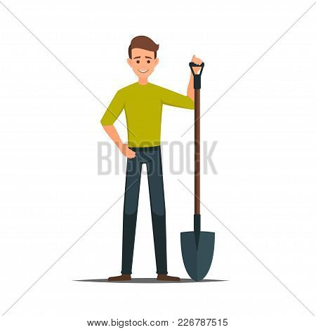 Cartoon Male Vector Character With A Shovel.cleaner Boy Is Holding A Shovel.farmer In Working  Cloth