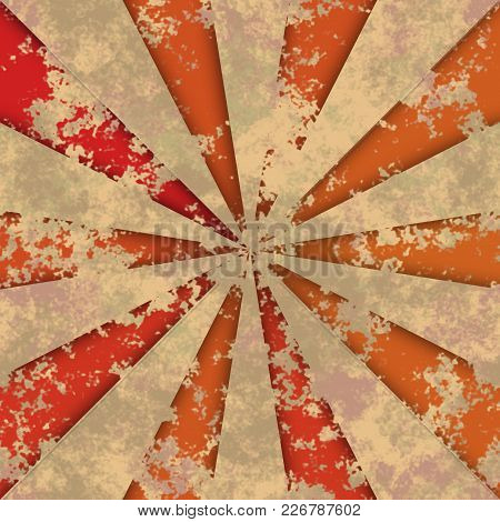 Orange And Red Obsolete Dirty Rays Radial Design Background