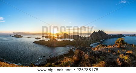 Panoramic Scenic View Of Padar Island During Sunset With Dramatic Sky, Palau Padar, Komodo National